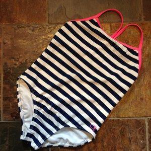OP OCEAN PACIFIC nautical stripe swimsuit 7 8 (E4)